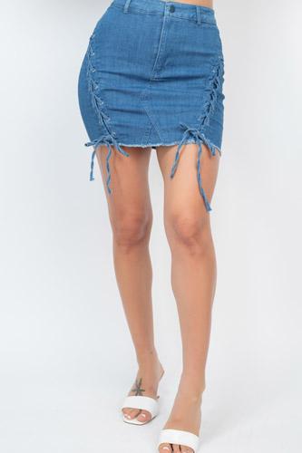 Criss-cross Distressing Hem Skirt