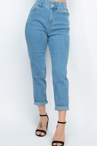 Double Button High-waisted Jeans