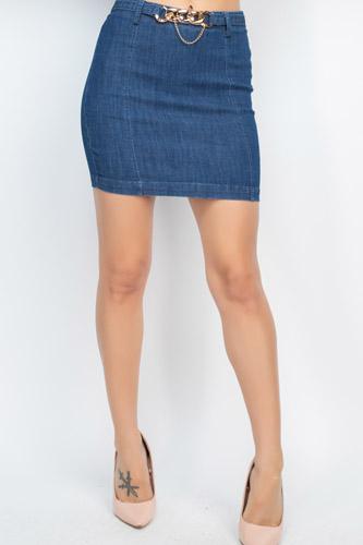 High-rise Belted Chain Denim Skirt