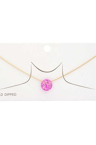 Iridescent Circle Gold Dipped Necklace
