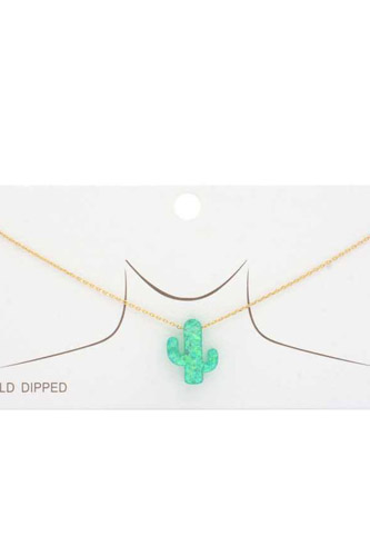 Iridescent Cactus Charm Gold Dipped Necklace