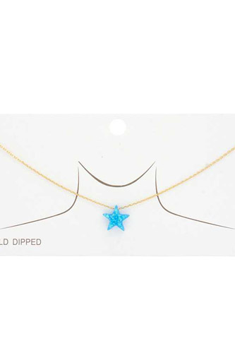 Iridescent Star Charm Gold Dipped Necklace