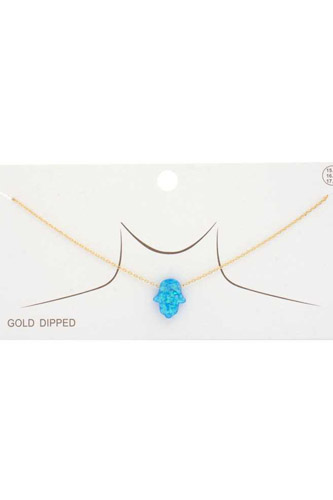 Iridescent Hamsa Hand Charm Gold Dipped Necklace
