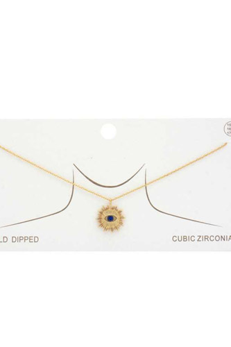 Evil Eye Sun Charm Gold Dipped Necklace