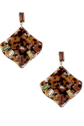 Acetate Rhinestone Square Dangle Earring