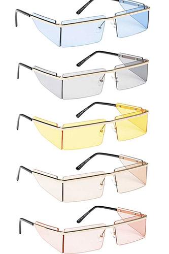 Fashion Clear Color Box Side Shield Sunglasses
