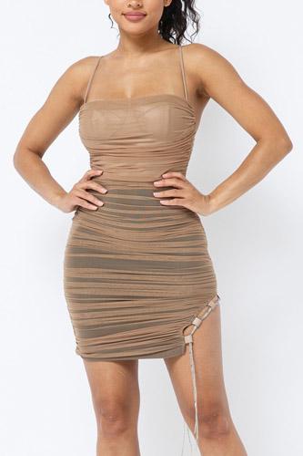 Spaghetti Strap Mesh Mini Dress