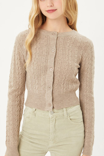Buttoned Cable Knit Cardigan Long Sleeve Sweater