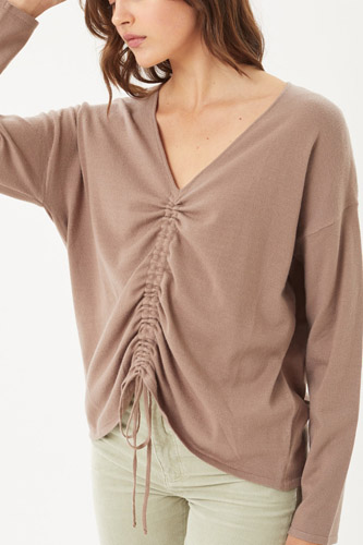 A V-neckline Drawstring Ruched Top