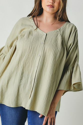 Plus Solid V Neck Button Down Top