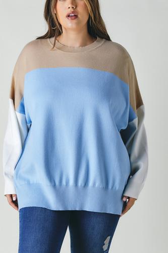 Plus Round Neck Multicolored Oversized Sweater