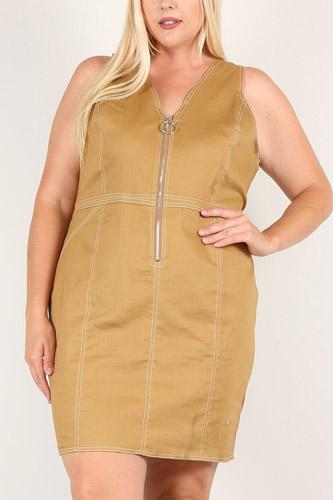 Plus Solid Bodycon Mini Dress