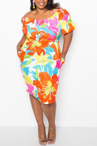 Flower Print Off The Shoulder Dress