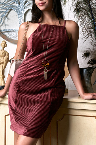 Cranberry Red Corduroy Sleeveless Square Neck Tight Fit Mini Dress