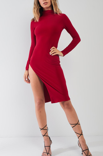 Passion Red Turtle Neck Long Sleeve Super Deep Side Slit With Tie Detail Midi Dress