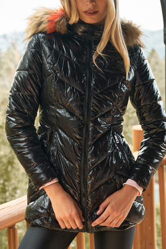 Black Vinyl Glossy Finish Fitted Faux Fur Hood Chevron Padded Puffer Jacket