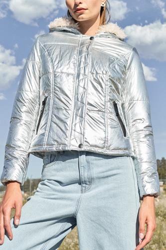 Long Sleeve Fuzzy Faux Fur Hood Padded Jacket