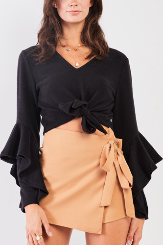 Fuzzy long ruffle sleeve v-neck self-tie front detail cropped top
