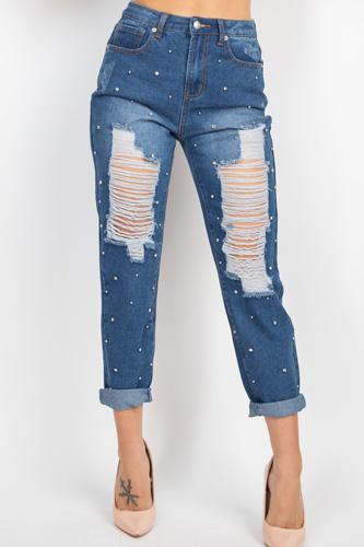 Rhinestones Ripped-front Denim Jeans