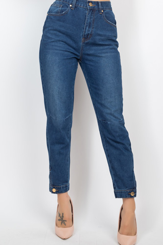 Cuffed-button Mom Jeans