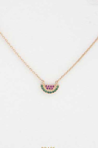 Dainty Watermelon Slice Charm Necklace