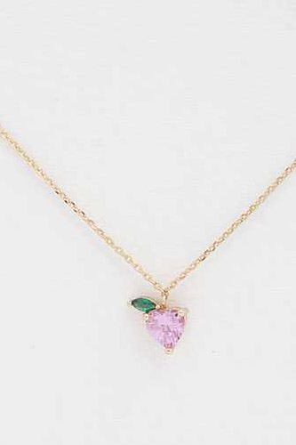 Heart Leaf Charm Stone Necklace