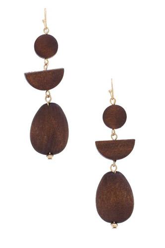 Geometric Wood Bead Dangle Earring