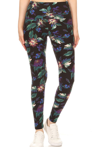 Long Yoga Style Banded Lined Floral Printed Knit Legging With High Waist