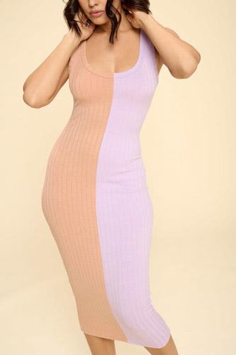 Casual Two-tone Midi Dress, Scoop Neck, Sleeveless