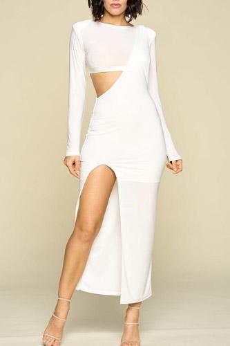 Long Sleeve Side Cut Out Side Slit Detail Dress