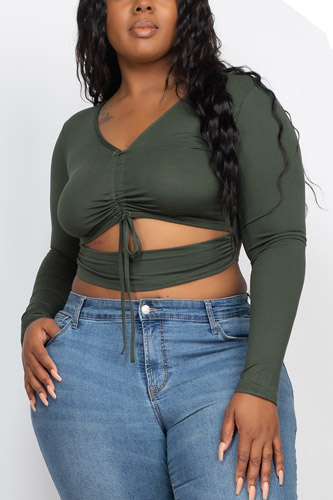 Plus Size Drawstring Ruched Cutout Crop Top