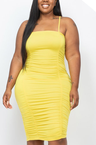 Plus Size Double Ruched Front And Ruched Back Detail Mini Dress