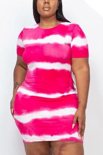 Plus Size Stripe Tie-dye Printed Midi Dress