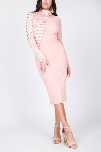 Faux Leather Tiered Long Sleeve Mesh Midi Dress