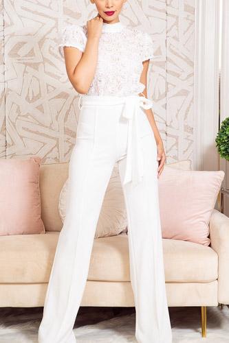 Flower Lace Top Detailed Fashion Jumpsuit