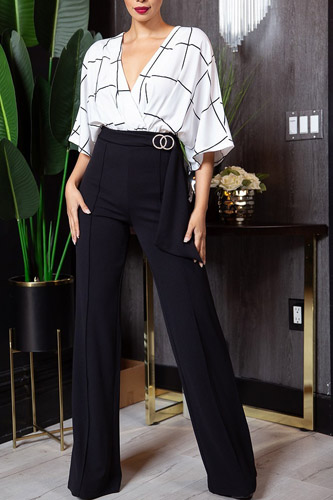 Square Print Woven Top Detailed Fashion Jumpsuit