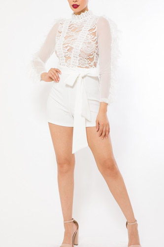 Lace And Crochet Top Detailed Fashion Romper