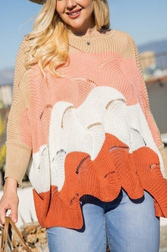 Round Neck Long Batwing Sleeve Scalloped Edge Color Block Sweater