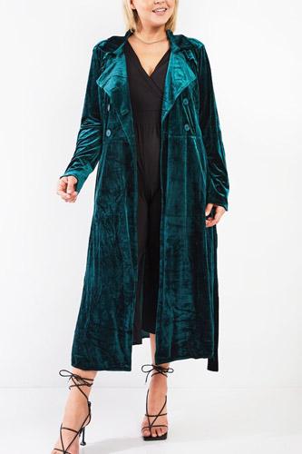 Plus Hunter Green Velvet Long Sleeve Maxi Smoking Jacket