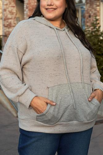 Plus Grey-lavender Long Sleeve Front Pocket Hoodie Top