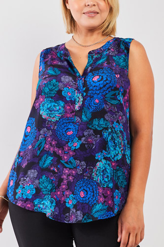 Plus 100% Silk Blue & Purple Floral Print Sleeveless Button Down Top