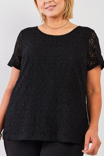 Plus Black Round Neck Short Sleeve Lace Embroidery Top