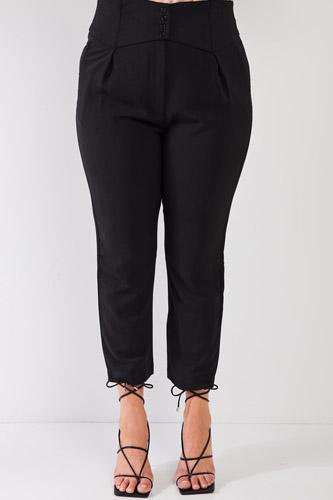 Plus Black High-waisted Classic Pegged Pants