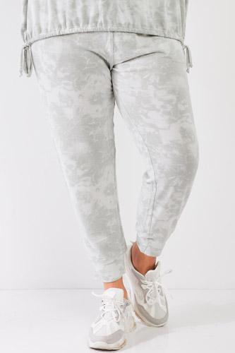 Plus Tie-dye Bleached Effect High Waist Comfy Jogger Pants
