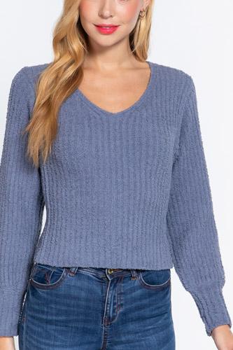 Long Puff Slv V-neck Rib Sweater
