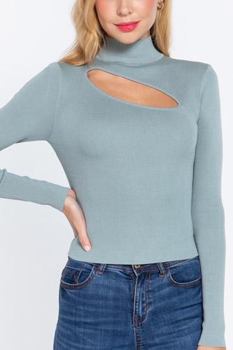 Long Slv Mock Neck Keyhole Sweater