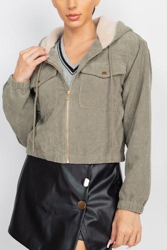Zippered Corduroy Jacket