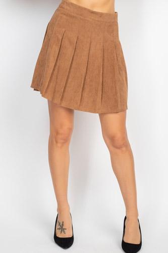 A-line Corduroy Pleated Mini Skirt