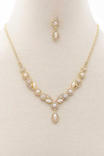 Pearl Rhinestone Marquise Shape Necklace