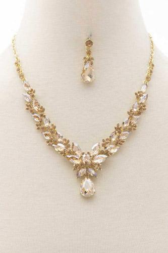 Flower Rhinestone Necklace